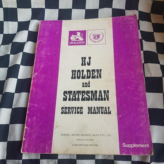 Genuine Holden HJ Series and Statesman Workshop Manual Supplement