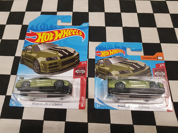 Hot Wheels 2019 Nissan Series R34 Skyline GTR Green Long & Short Available