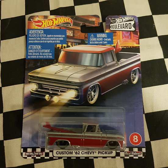 Hot Wheels 2020 Boulevard Custom 62 Chevy Pickup Real Riders Silver/Red