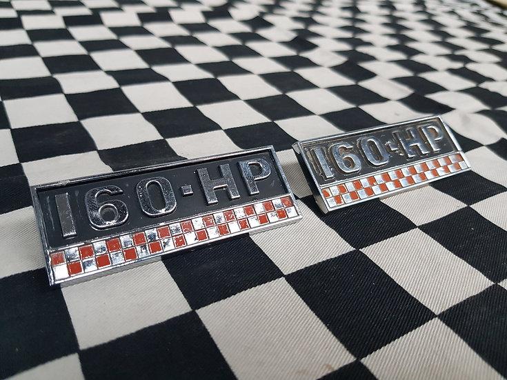 2x Chrysler Valiant Original 160 HP Guard Badges