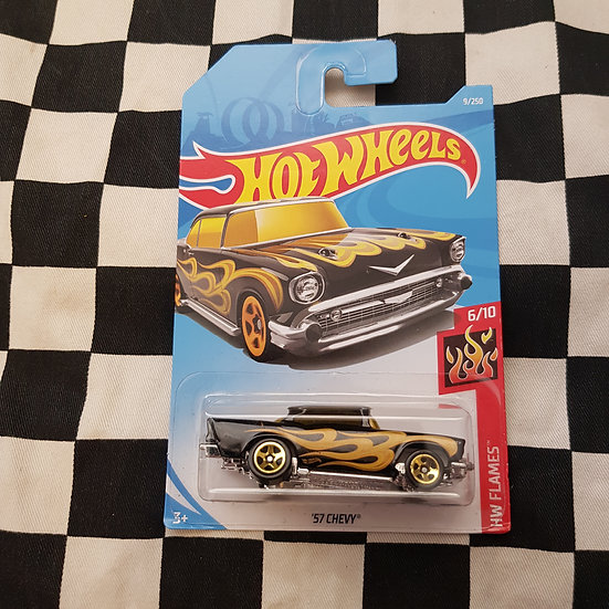 Hot Wheels 2019 Flames 57 Chevy Black