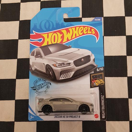 Hot Wheels 2020 Nightburnerz Jaguar XE SV Project 8 Silver