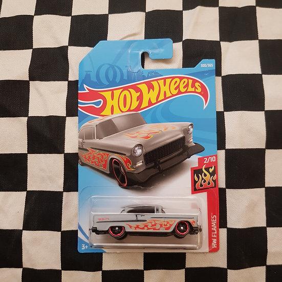 Hot Wheels 2018 Flames 55 Chev Grey Chevy Chevrolet