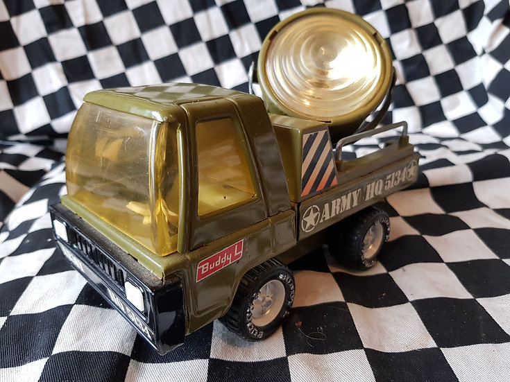 Vintage BUDDY L Tin Army Search Light Truck