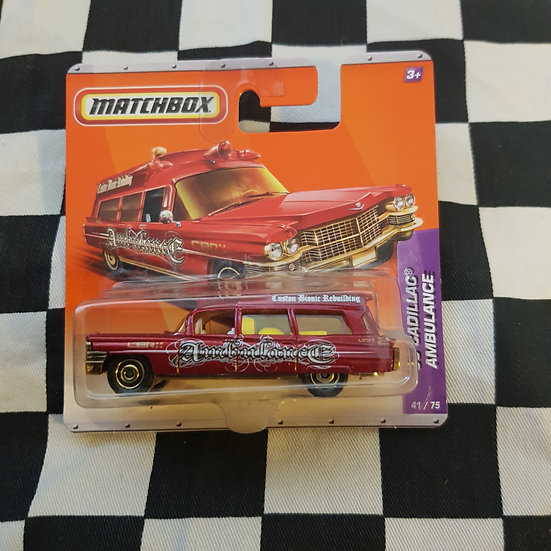 Matchbox 2010 Red 63 Cadillac Ambulance Short Card