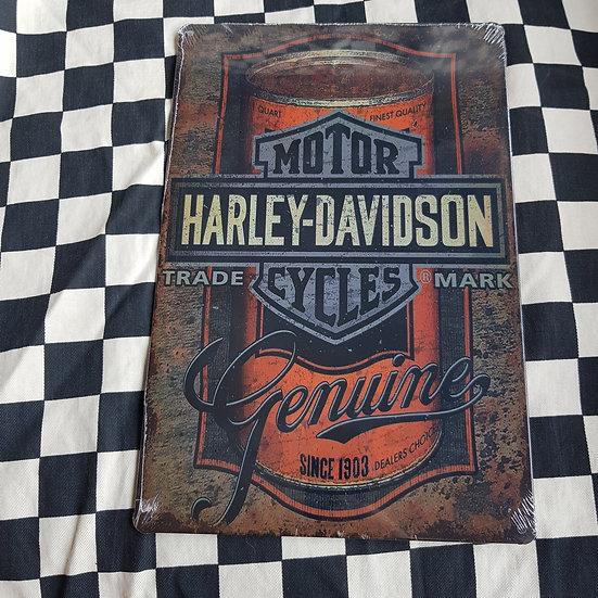 Tin Sign Repro 20x30 Harley Davidson Motor Cycles Genuine