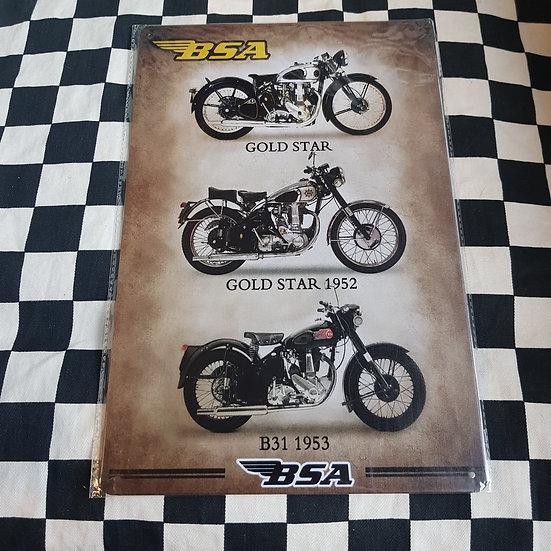 Tin Sign Repro 20x30 BSA Motorcycles