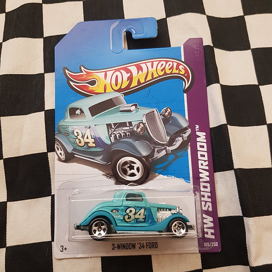 Hot Wheels 2013 Showroom 3 Window 34 Ford Hotrod  Light Blue