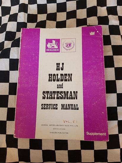 Original HJ HOLDEN & STATESMAN Workshop Manual Supplement