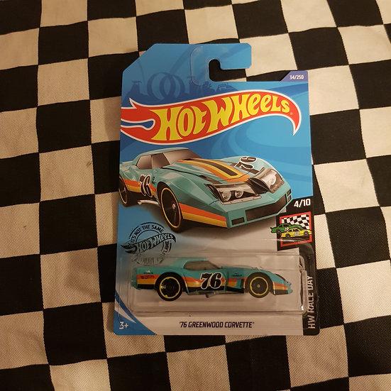 Hot Wheels 2020 Race Day 76 Greenwood Corvette Aqua Blue
