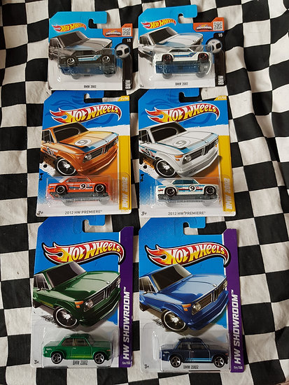 Hotwheels Collection of 6 Different BMW 2002 cars