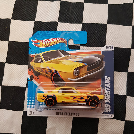 Hot Wheels 2011 Heat Fleet 65 Mustang Yellow Short Card
