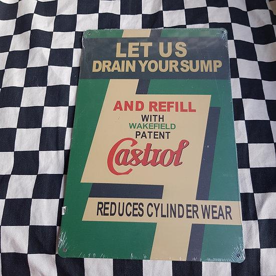 Tin Sign Repro 20x30 Castrol Drain Your Sump
