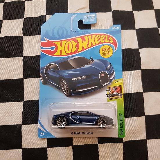 Hot Wheels 2019 Exotics 16 Bugatti Chiron Blue Long Card