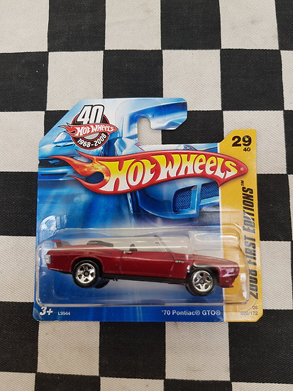 Hot Wheels 2008 First editions 70 Pontiac GTO RED Short Card