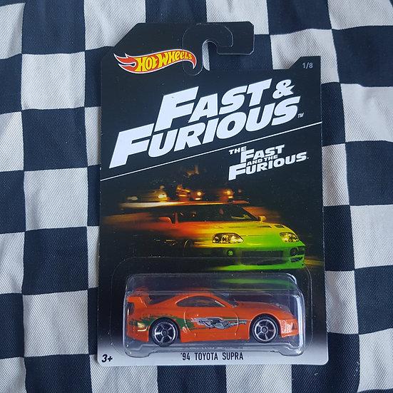Hot Wheels Fast & Furious 94 Toyota Supra Orange 1st Release Card