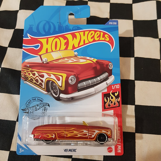 Hot Wheels 2020 Flames 49 Merc Lead Sled Metalflake Red