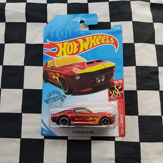 Hot Wheels 2019 Flames 67 Shelby GT 500 Ford Mustang Red