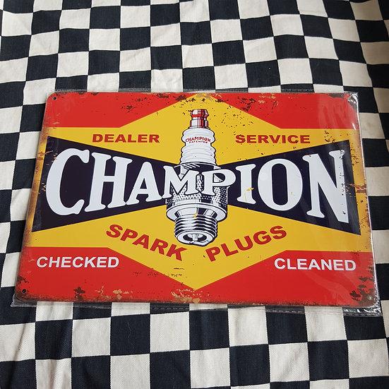 Tin Sign Repro 20x30 Champion Spark Plugs