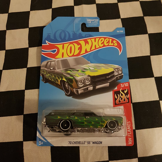 Hot Wheels 2019 Flames 70 Chevelle SS Wagon Grey