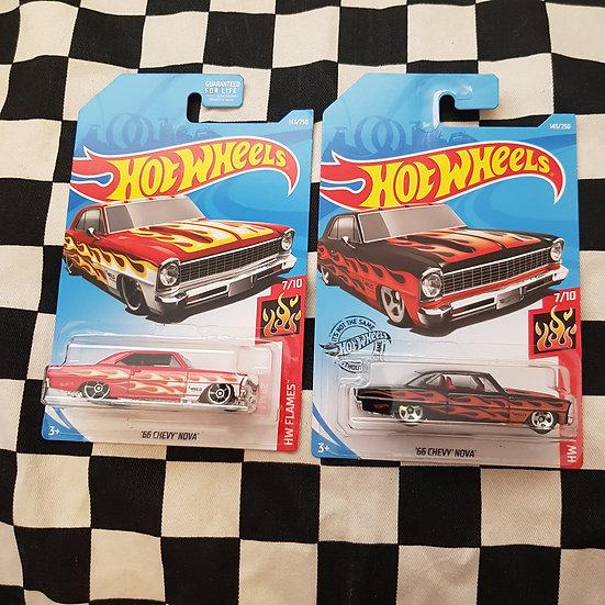 Hot Wheels 2019 Flames 66 Chevy Nova Red/Black