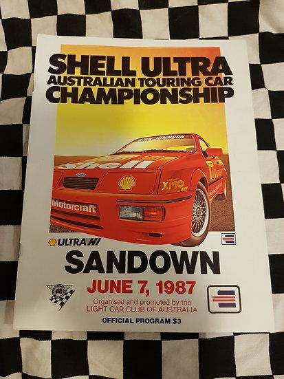 Shell ATCC Sandown race prgramme June 7 1987