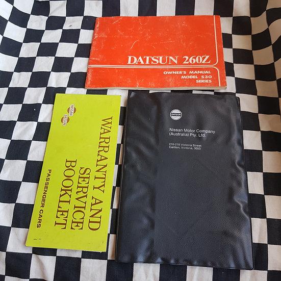 Datsun 260z Owners Manual Service Book Wallet Set