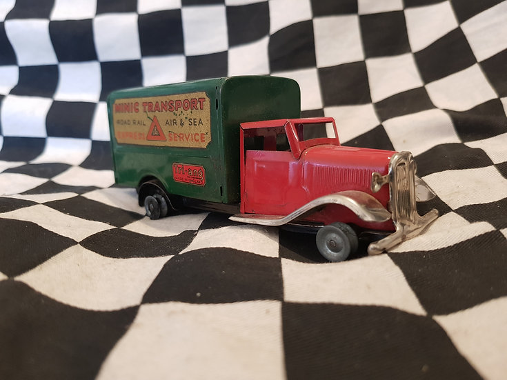 Vintage Tin Plate Clockwork Tri-ang Minic Delivery Truck