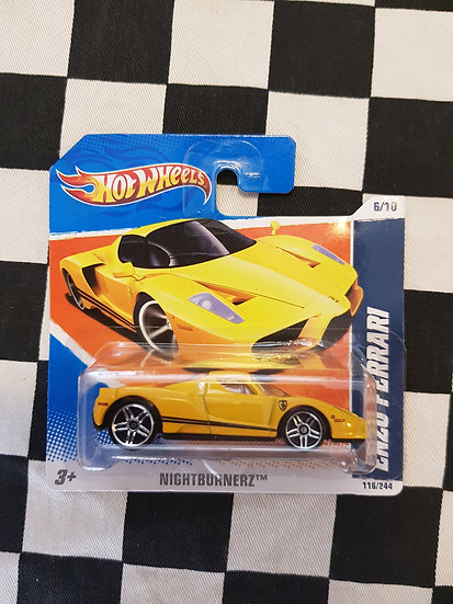 Hot Wheels 2010 Nightburnerz Enzo Ferrari Short Card Yellow