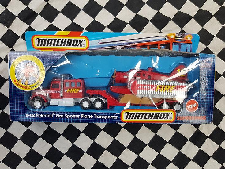 Matchbox Super kings k134 Peterbilt Fire Spotter Plane Transporter Truck 1987