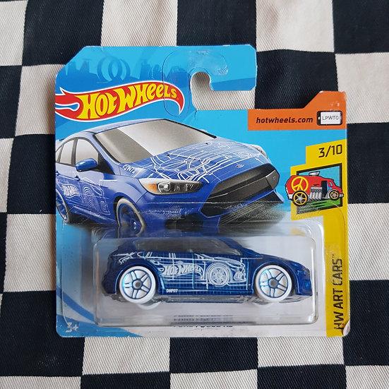 Hot Wheels 2018 Art Cars Ford Focus RS Blue Short Card