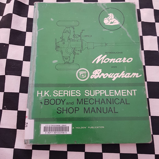 Holden HK Monaro Brougham Original Workshop Manual Supplement
