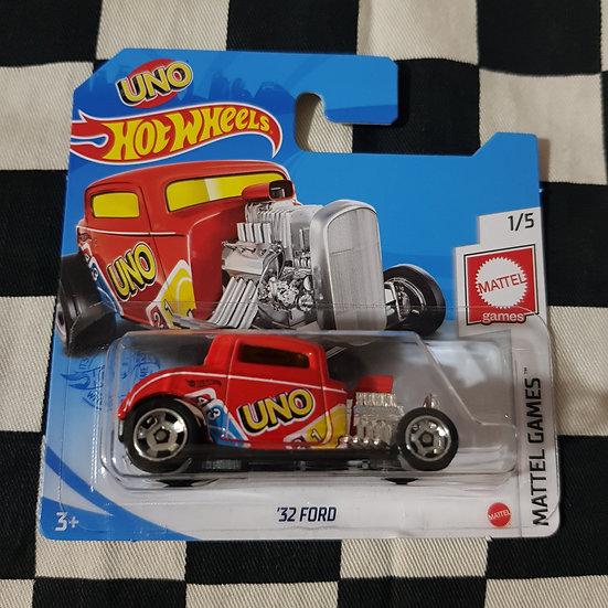 Hot Wheels 2021 Mattel Games UNO 32 Ford Hotrod Red  Short Card