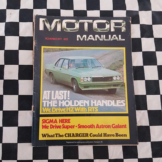 Motor Manual Magazine Nov 1977 HZ GTS Monaro