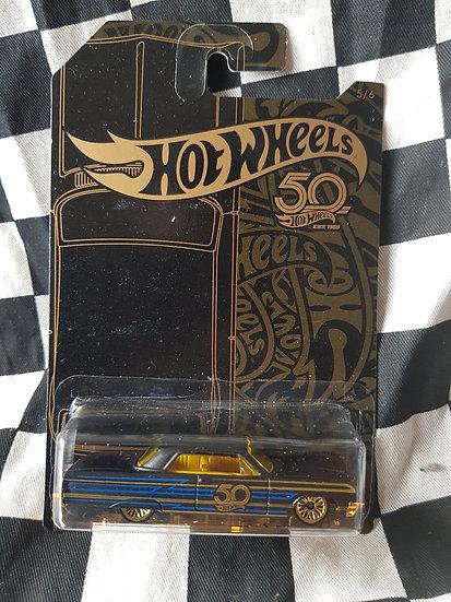 Hotwheels 50th Black & Gold 64 Chev Impala