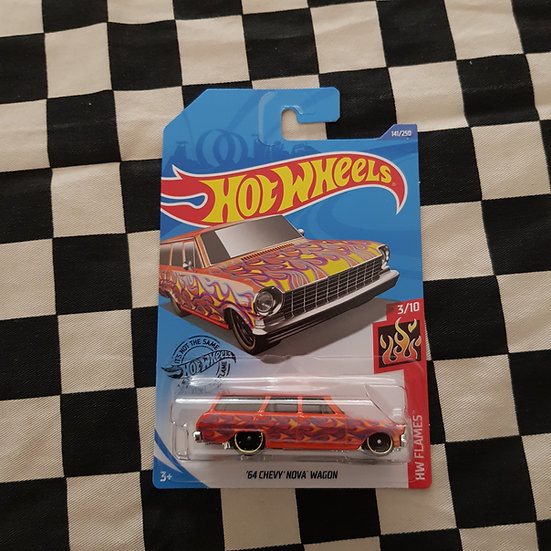 Hot Wheels 2020 Flames 64 Chevy Nova Wagon Orange