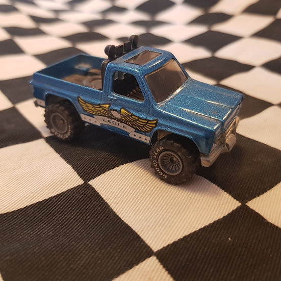 Hot Wheels Vintage loose Eagle Pickup Truck Real Riders Grey Hub Blue