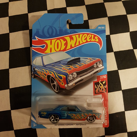 Hot Wheels 2018 Flames 69 Dodge Coronet Super Bee Blue