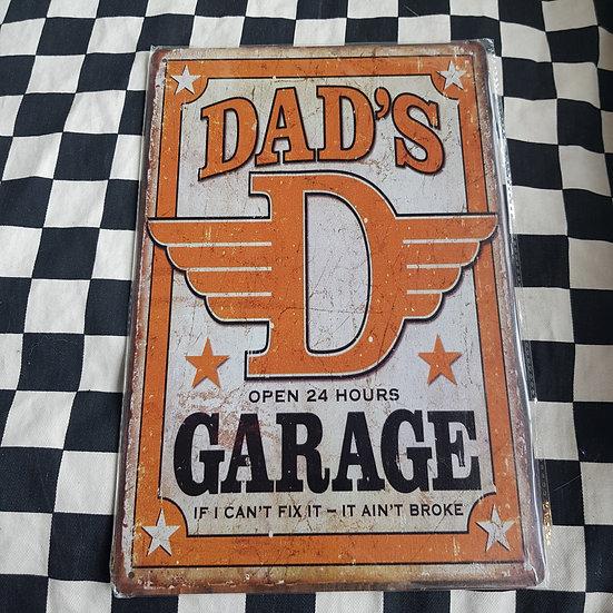 Tin Sign Repro 20x30 Dads Garage