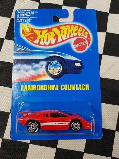 Hot Wheels 1990 Blue Card Lamborghini Countach Red