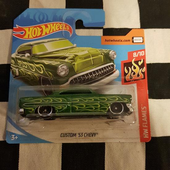 Hot Wheels 2018 Flames Custom 53 Chevy Green Short Card