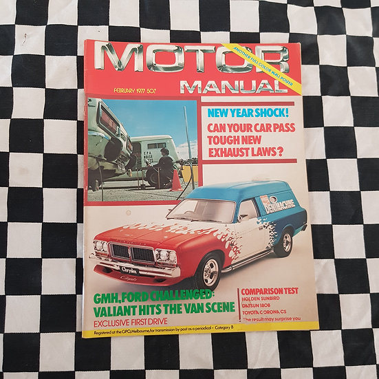 Motor Manual Magazine FEB 1977 Valiant Drifter Van Coca cola Deni Machine