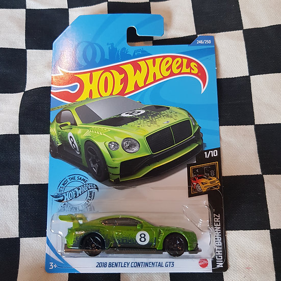 Hot Wheels 2020 Nightburnerz 2018 Bentley Continental GT3 Green