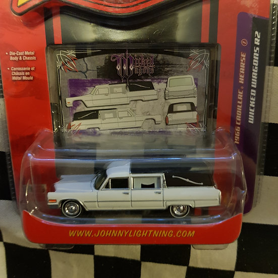 Johnny Lightning 1966 Cadillac Hearse White  Wicked Wagons R2