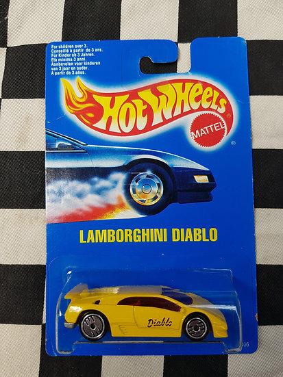 Hot Wheels 1990 Blue Card Lamborghini Diablo Yellow