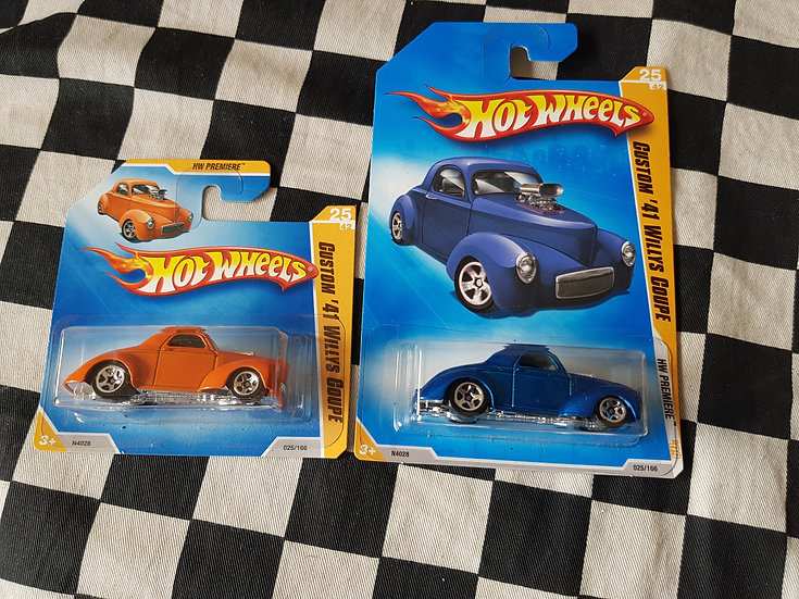Hot Wheels 2009 First Edition Custom 41 Willys Coupe Blue or Orange