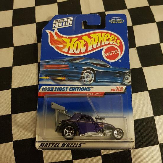 Hot Wheels 1999 First Edition Fiat 500c Topolino Altered Drag Car Purple