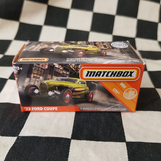Matchbox Power Grab 33 Ford Coupe Hot Rod Yellow