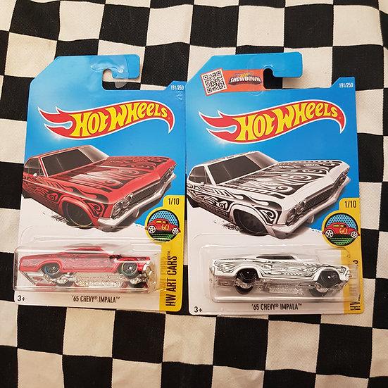 Hot Wheels 2015 Art Cars 65 Chev Impala Red/White