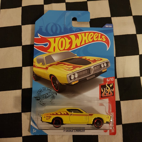Hot Wheels 2020 Flames 71 Dodge Charger Yellow